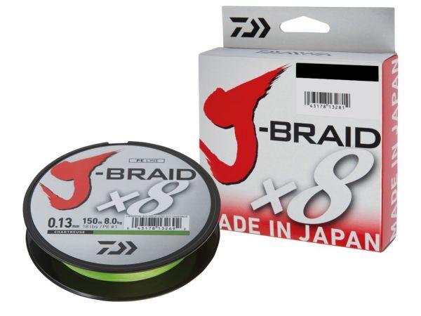 Daiwa J-braid x8 150m/0,13mm charttreuse