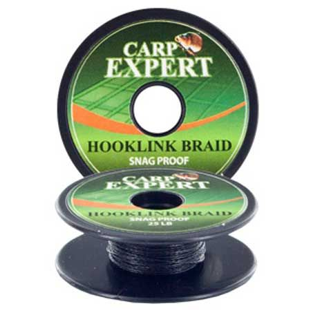 Carp Expert hooklink braid snag proof pitch black 15lb/10m