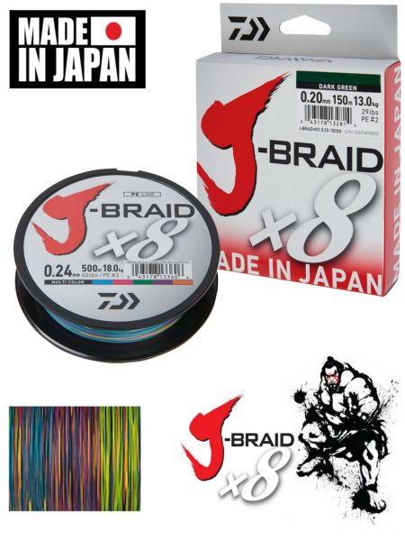Daiwa J-braid X8 0,35mm/300m multicolor