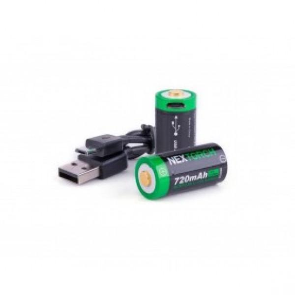 Baterija RCR123A ponjiva Nextorch set 2/1