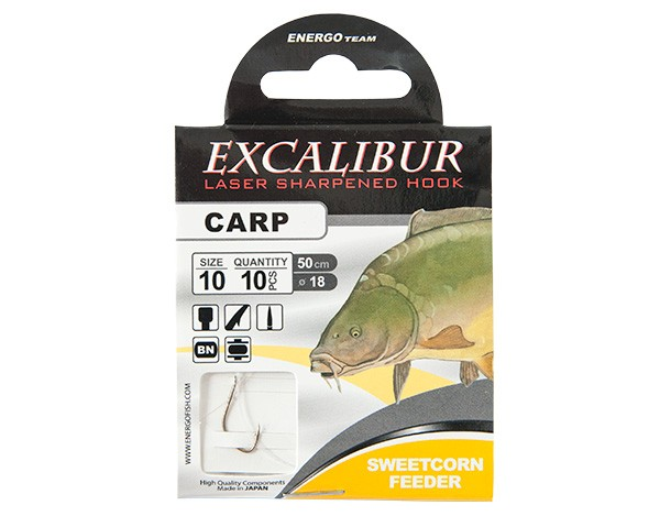 Vezane udice Excalibur Carp sweetcorn feeder